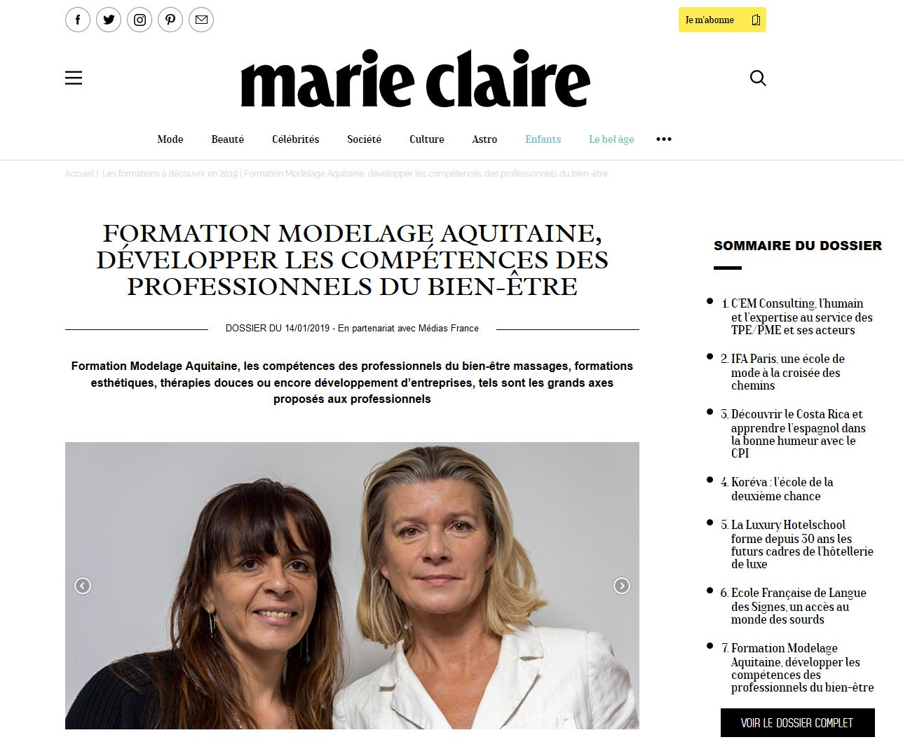 Formation Modela Aquitaine Marie Claire